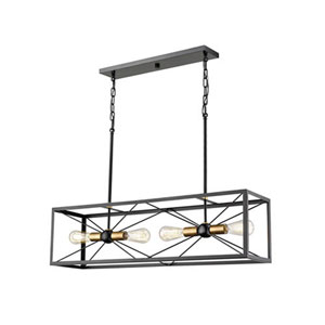 Madison Black and Bronze 36-Inch Four-Light Pendant