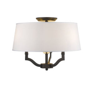 Lyndale Bronze Three-Light Convertible Semi-Flush Mount with Classic White Shade