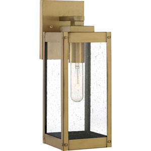 Pax Antique Brass Five-Inch One-Light Outdoor Wall Mount with Seedy Glass