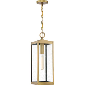 Pax Antique Brass One-Light Outdoor Pendant with Seedy Glass