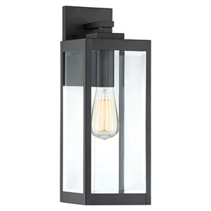 Pax Black 17-Inch One-Light Outdoor Wall Lantern with Beveled Glass