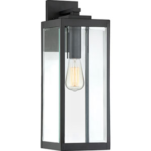 Pax Black 20-Inch One-Light Outdoor Wall Lantern with Beveled Glass