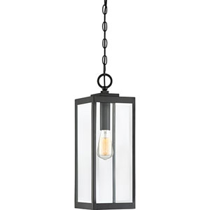 Pax Black One-Light Outdoor Pendant with Beveled Glass