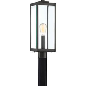 Pax Black One-Light Outdoor Post Mount with Beveled Glass