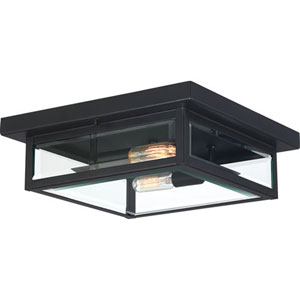 Pax Black Two-Light Outdoor Flush Mount with Beveled Glass