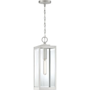 Pax Stainless Steel 7-Inch One-Light Outdoor Hanging Lantern with Beveled Glass