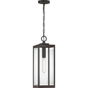 Pax Bronze 7-Inch One-Light Outdoor Hanging Lantern with Beveled Glass
