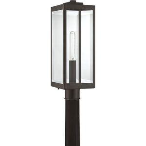 Pax Bronze One-Light Outdoor Post Lantern with Beveled Glass