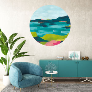 Multicolor Colorful Landscape 30 x 30 Inch Circle Wall Decal