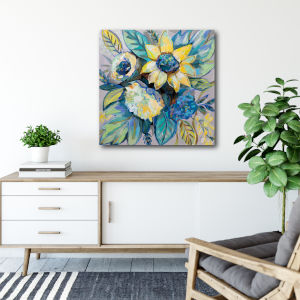 Sage and Sunflowers I 30 In. x 30 In. Gallery Wrapped Canvas