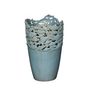Blue Fish 16-Inch Ceramic Vase
