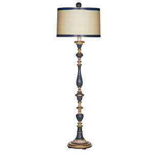 Windsor Blue Wood Floor Lamp