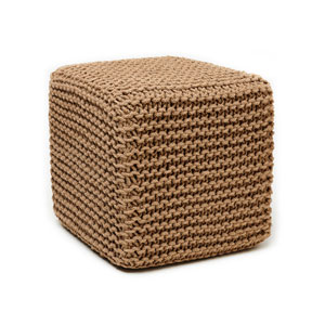 Natural Jute 18 x 18 In. Square Pouf