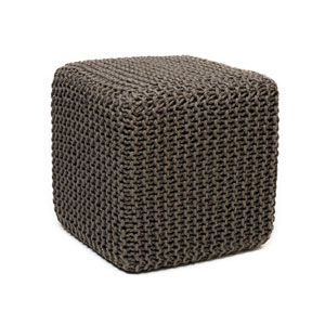 Gray Jute 18 x 18 In. Square Pouf