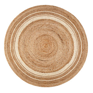 Kerala Sunrise Jute Round: 4 Ft. Area Rug