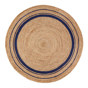 Kerala Midnight Jute Round: 4 Ft. Area Rug