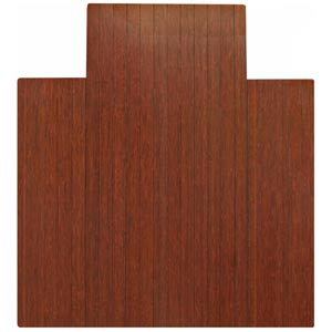 44 x 52 4-Inch Slat Dark Cherry Bamboo Roll-Up Chair Mat