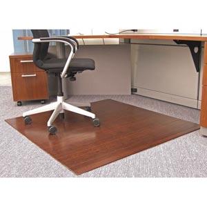 48 x 42 Dark Cherry Bamboo Roll-Up Chair Mat