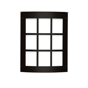 Moto Grid Black One-Light ADA Outdoor Sconce With White Glass