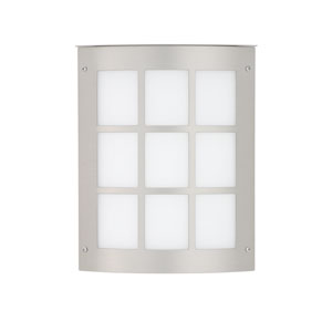 Moto Grid Silver One-Light ADA Outdoor Sconce With White Glass