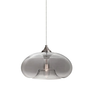 Bana Satin Nickel One-Light Pendant With Smoke Glass