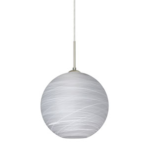 Coco Satin Nickel One-Light LED Pendant With Cocoon Glass