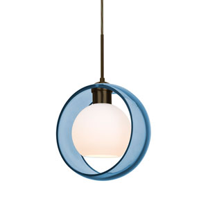 Mana Bronze One-Light LED Pendant With Transparent Blue and Opal Glass