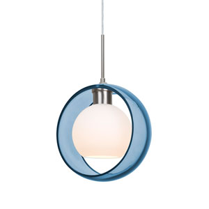Mana Satin Nickel One-Light LED Pendant With Transparent Blue and Opal Glass