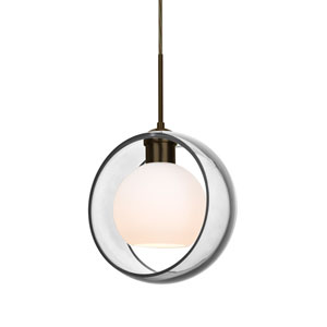Mana Bronze One-Light LED Pendant With Transparent Clear and Opal Glass