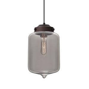 Olin Bronze One-Light Pendant With Smoke Glass