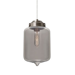Olin Satin Nickel One-Light Pendant With Smoke Glass
