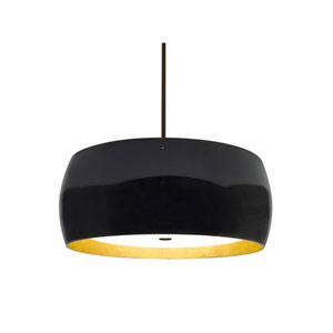 Pogo Bronze Three-Light LED Pendant With Black and Inner Gold Foil Glass