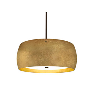 Pogo Bronze Three-Light LED Pendant With Gold and Inner Gold Foil Glass