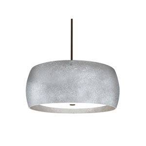 Pogo Bronze Three-Light Pendant With Silver and Inner Silver Foil Glass