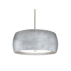 Pogo Satin Nickel Three-Light Pendant With Silver and Inner Silver Foil Glass