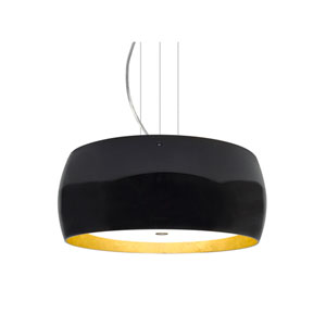 Pogo Satin Nickel Three-Light LED Pendant With Black and Inner Gold Foil Glass