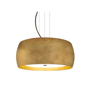 Pogo Bronze Three-Light Pendant With Gold and Inner Gold Foil Glass