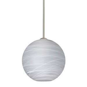Coco Satin Nickel One-Light Pendant With Cocoon Glass