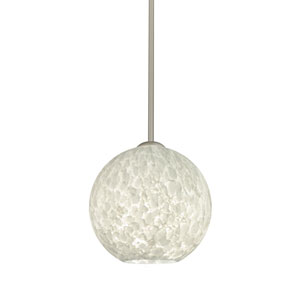 Coco Satin Nickel One-Light LED Pendant With Carrera Glass