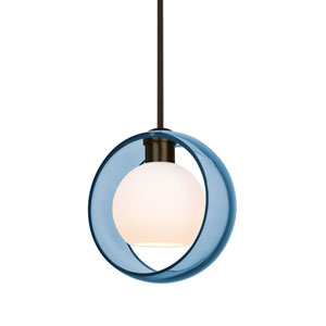 Mana Bronze One-Light Pendant With Transparent Blue and Opal Glass
