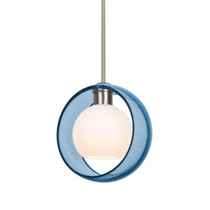 Mana Satin Nickel One-Light Pendant With Transparent Blue and Opal Glass