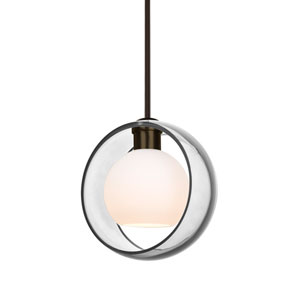 Mana Bronze One-Light Pendant With Transparent Clear and Opal Glass