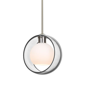 Mana Satin Nickel One-Light LED Pendant With Transparent Clear and Opal Glass