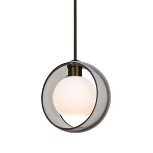 Mana Bronze One-Light LED Pendant With Transparent Smoke and Opal Glass