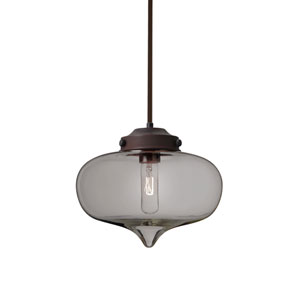Mira Bronze One-Light Pendant With Smoke Glass