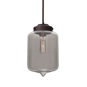 Olin Bronze One-Light Pendant With Smoke Glass