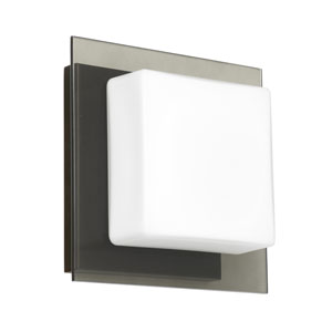 Alex Bronze One-Light ADA Mini Sconce With Opal and Smoke Glass