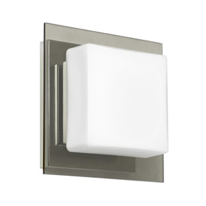Alex Chrome One-Light ADA Mini Sconce With Opal and Smoke Glass
