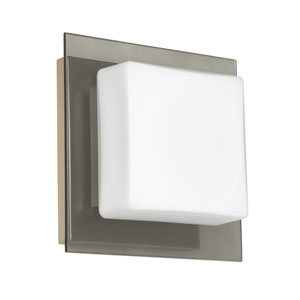 Alex Satin Nickel One-Light ADA Mini Sconce With Opal and Smoke Glass