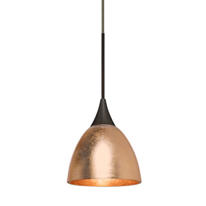 Divi Bronze One-Light Mini Pendant With Copper Foil Glass